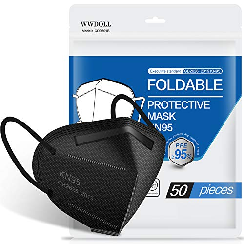 KN95 Face Mask 50 Pack, WWDOLL Black KN95 Mask 5-Layer Breathable Cup Dust Mask