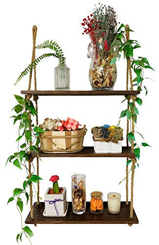 JerryHouse - 3 Tier, Hanging Wall Shelves Wood Rope Shelf Hanging Shelf Rustic Storage Rack Plant Shelves Floating Collectibles Display - Suitable for Living Room, Bathroom, Kitchen