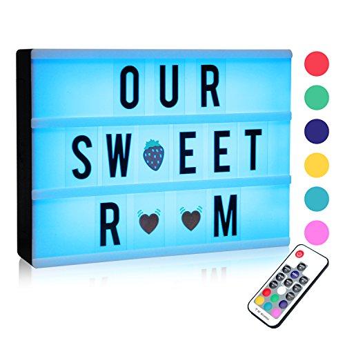 Boîte Enseigne Lumineuse, A4 LED Cinéma Boîte, Lumineuse Light Box avec 120 Lettres Noires et Symboles pour Mariage, Home, Photoshoots, Fête Anniversaire