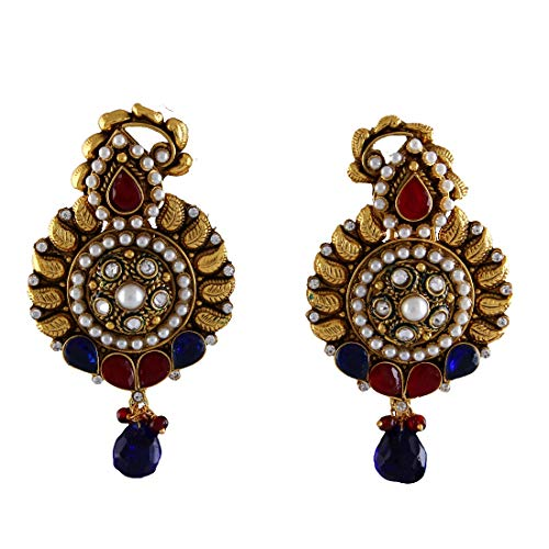 JewelryGift Fascinating Chandbali Earrings 18K Gold Plated Red Ruby, Blue Sapphire-CZ, Moti Studded Intrcately Crafted Unique Designer Jewellery Gift for Girls and Women MY 45-RED-BLUE