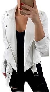 FSSE Women Fall & Winter Zip Front Lapel Motorcycle Solid Color Jacket Coat Outerwear