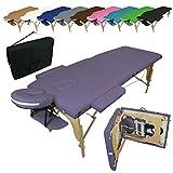 Vivezen ® Table de massage pliante 2 zones en bois avec panneau Reiki...