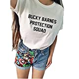 Bucky Barnes Protection Squad Casual Short Sleeve Women's T-Shirts White -  hiphop tees