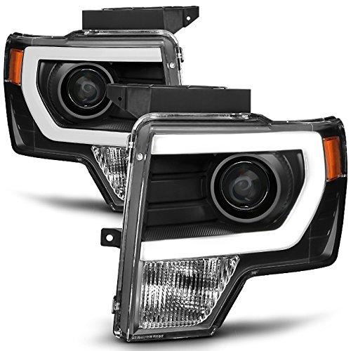 For [HALOGEN UPGRADE] 09-14 Ford F-150 F150 Light Duty Pickup Black Bazel C-Shape LED light Tube Projector Headlights