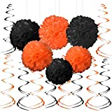 Black Orange Halloween Party Hanging Decorations - Graduation Construction Birthday Baby Shower Party Foil Swirls Tissue Paper Pom Poms Flowers Wedding Party Ceiling Hangings Decorations, 20Ct