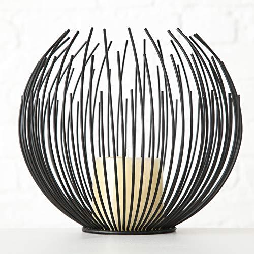 mucHome Windlicht Globe mit Stumpenkerze H21cm Eisen Schwarz runder Kerzenständer Kerzenhalter