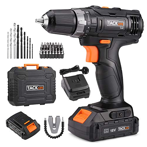 TACKLIFE 18V Cordless Drill Driver, 3/8' Metal Chuck,2 Speeds Compact Drill Set...