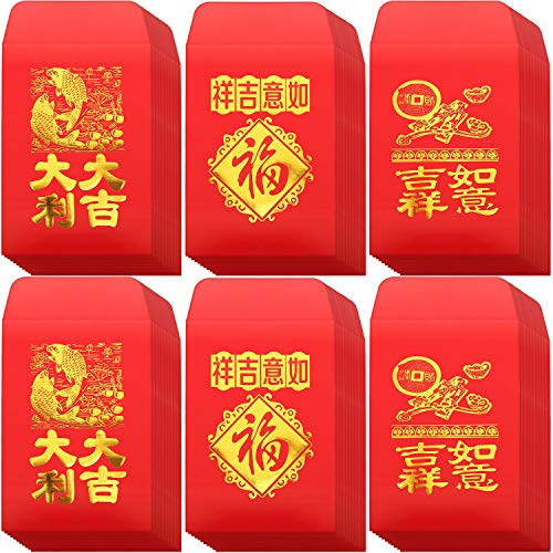 120 Pieces Chinese Red Envelopes Hongbao Year of The Lucky Money Envelopes Money Pockets for Party and Chinese New Year (Auspicious Words, 3.9 x 2.7 Inch)
