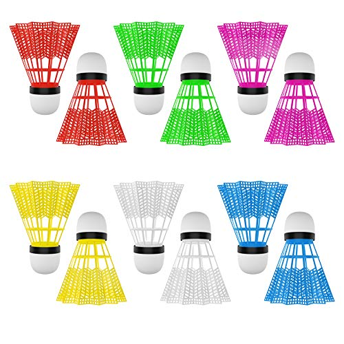SOONHUA Badmintonbälle aus Kunststoff, für drinnen und draußen, Sport, Fitness, Spiele, verschiedene Farben, 12 Stück