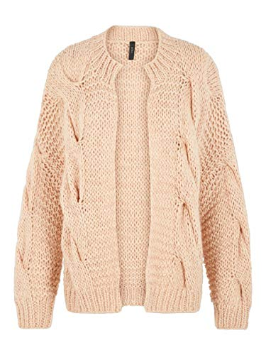 YAS Damen Strickjacke YASCARLY Handgefertigte Strick SRose Dust