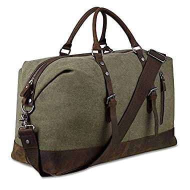 Canvas Overnight Bag Travel Duffel Genuine Leather for Men and Women Weekender Tote (Army Green)