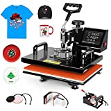 Pro 5 in 1 TUSY 12x15 Heat Press Machine Swing Away Heat Transfer Press Transfer Sublimation for T Shirt Hat Mug Cap Plate, 360 Degree Rotation