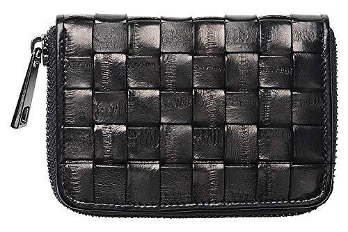Becksöndergaard Damen Geldbörse Braidy Purse Black Portemonnaie aus 100% Leder Schwarz Geflochten mit Reißverschluss - 100040-010