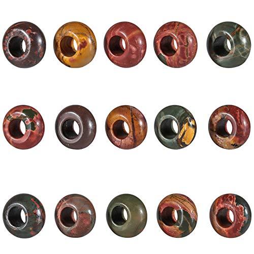 Amogeeli 15 unidades de perlas sueltas con agujero grande (6 mm) para fabricación de joyas, cuentas para rastas, proyecto de bricolaje, perlas redondas europeas y charms, jaspe Picasso.