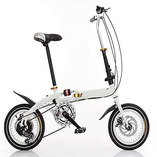 QYCloud Bicicleta Plegable Speed Shock Frenos de Disco Doble Bicicleta, Bicicleta Plegable Speed Ligera, Speed Mini Compact City Road Bikes