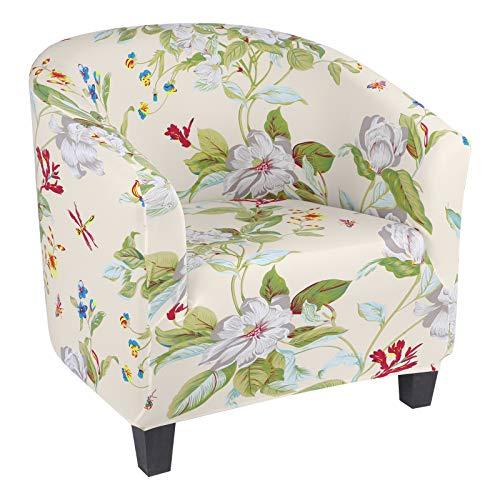 laamei Funda de Sillón Chesterfield Elasticas Cubierta Suave del Tub Chair Lavables Cubiertas Elegantes de los Muebles para Dormitorio Recepción Contador(Beige/Hojas Verdes,1 Plaza)