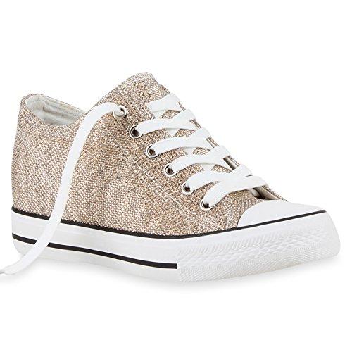 stiefelparadies Damen Sneaker Wedges Keilabsatz Sneakers Glitzer Zipper Wedge Turn Metallic Schuhe 118850 Gold Glitzer 37 Flandell
