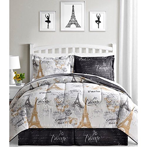 BonJour Paris, Eiffel Tower, Black, White & Gold Reversible Full Comforter Set (8 Piece Bed in A Bag) + Homemade Wax MELT