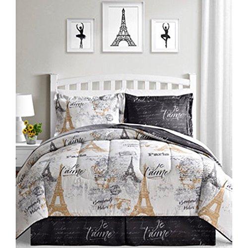 BonJour Paris, Eiffel Tower, Black, White & Gold Reversible Full Comforter Set (8 Piece Bed in A Bag) + Homemade Wax MELT
