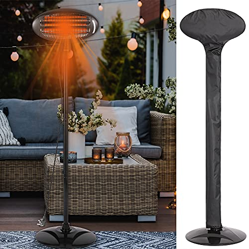 Electric Garden Patio Heater & Weatherproof Cover Included! 2KW Premium Infrared Outdoor Quartz 2000W Quick Heat, Waterproof, 3 Power, Trip Safety, Adjustable 1.8-2.1M - NEXT DAY DELIVERY!