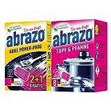 abrazo Topf & Pfanne Reinigungskissen Reinigungs-Schwamm + abrazo Grill Power-Pads Ofenreiniger...