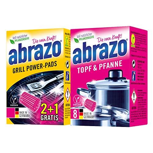 abrazo Topf & Pfanne Reinigungskissen Reinigungs-Schwamm + abrazo Grill Power-Pads Ofenreiniger Power-Pads antibakteriell 2+1