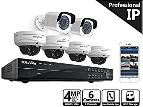 LaView 4-Megapixel (2688 x 1520) 8 Channel PoE 4K NVR HDMI - 6 Camera Security Camera System, 2 4MP Bullet & 4 4MP Dome IP Surveillance Cameras, 100ft Night Vision, Pre-Installed 4TB Hard Drive