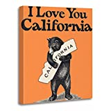 TORASS Canvas Wall Art Print Map I Love You California Bear State Artwork for Home Decor 12' x 16'