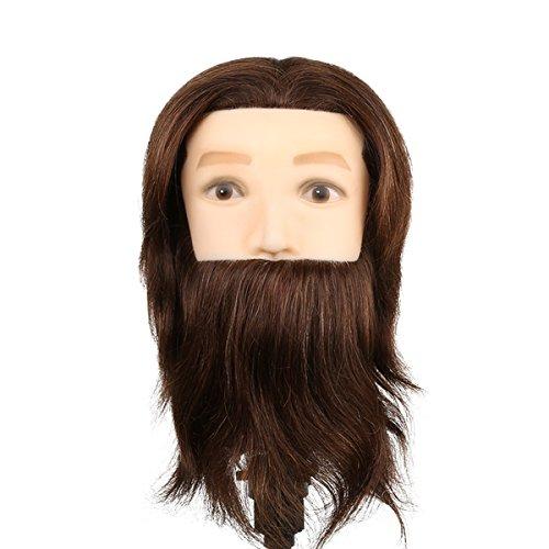 Parrucchiere Mannequin Exercise Man Hairstyle con barba - 80% Capelli Naturali e 20% Capelli Animali per Studio Professionale in Cosmetologia - Marrone - Besmall
