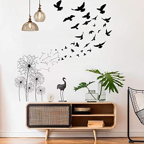 Stickers Muraux Pissenlit et Oiseau, MOCOLOM Amovible Fleurs Avaler Grand Autocollants Murale Décoratif Wall Stickers, Décoration Murale pour Portes Chambre Mur Fenêtre Salon