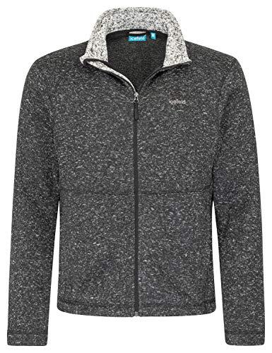 icefeld Herren Fleece Jacke in grau,Marineblau oder schwarz meliert (XL, schwarz)