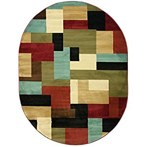 "Imperial Mosaic Multicolor Geometric Modern Casual Area Rug 5×7 ( 5'3″ x 6'10"" ) Easy to Clean Stain Fade Resistant Shed Free Abstract Contemporary Color Block Boxes Soft Living Dining Room Rug"