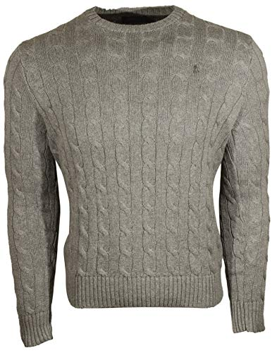 Polo Ralph Lauren Mens Cable-Knit Crew Neck Sweater (Large, Grey (Grey Pony))