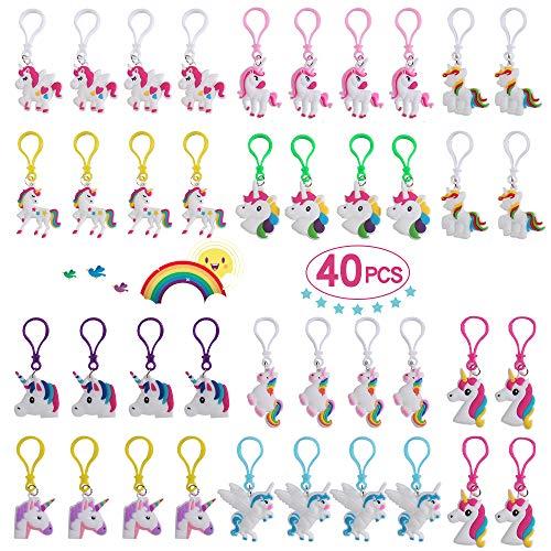 Yunfan Keyring Unicornio Surtido 40 Piezas Rainbow Unicorn Keyring Holder Unicorn Keyring Party Favor Llaveros Premios Regalos para Niños y Adultos