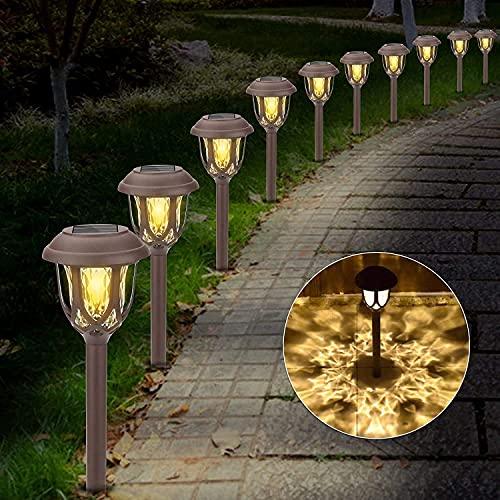 Lampada Solare da Giardino, 10 Pezzi Lampade da Esterno per Prato, IP65 Impermeabile Luci Solari LED Lampione a Esterno Solare, Decorativo Lampade Solari per Strade Cortili, Parcheggi, Vacanza