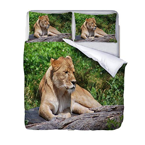 Duvet Cover Set Single-Zipper Closure with 1 Pillow cover Bedding Set Ultra Soft Hypoallergenic Microfiber Quilt Cover SetsAnimal-predator