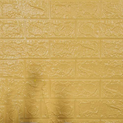 Color crema 10 piezas 3D pegatinas de pared de ladrillo de imitación, papel tapiz grueso autoadhesivo impermeable DIY 70CMx77CM