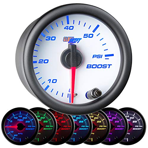 GlowShift White 7 Color 60 PSI Turbo Boost Gauge Kit - Includes Mechanical Hose & Fittings - White Dial - Clear Lens - for Diesel Trucks - 2-1/16' 52mm
