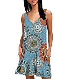 Vestido Cortos Mujer Verano Cuello V Casuales Mini Vestidos Playa Boho Estampados Flores Vestido Playeros Rectos Diarios Sin Mangas de Señora Bohemio Calle Estampado Floral Vestir Sueltos Azul S