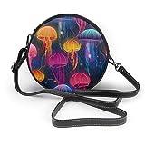 WILHJGH Ocean Jellyfish Underwater Acuarela Crossbody Bolso redondo de cuero Bolsos Monedero Bolso de mensajero para mujer