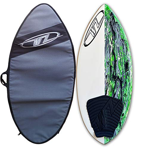 "48"" Wave Zone SE Carbon & Fiberglass Skimboard for Riders Up to 200 lbs - Complete with Traction Deck Grip - Green (Green 48"" Board + Travel Bag)"