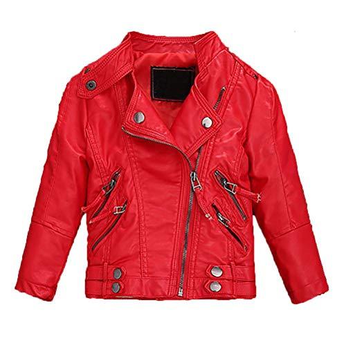 Echinodon Mädchen Bikerjacke Lederjacke Kinder Jacke aus Kunstleder Motorradjacke Rot 140