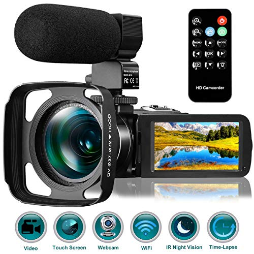 Kenuo Ultra HD Video Camera Camcorder with Rechargeable Microphone 1080P 26MP WiFi Vlogging Camera YouTube Digital Camera IPS Touch Screen Remote Control IR Night Vision, Wide Lens