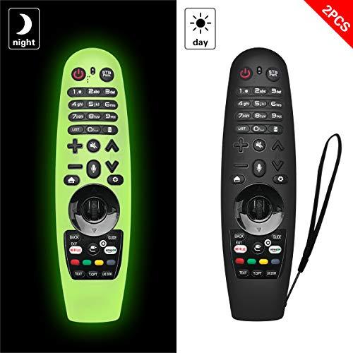 NANTING 2PCS aggiornata Custodia per telecomando per LG Smart TV per LG AN-MR600   LG AN-MR650   AN-MR18BA   AN-MR19BA, custodia in silicone antigoccia antiscivolo graffio polvere acqua(Verde + Nero)