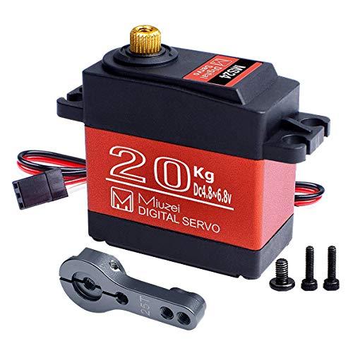 Miuzei 20KG Servo Motor High Torque Digital Servo Metal Waterproof 1/10 Scale Servo for R/C Car Robot, DS3218 Control Angle 270°