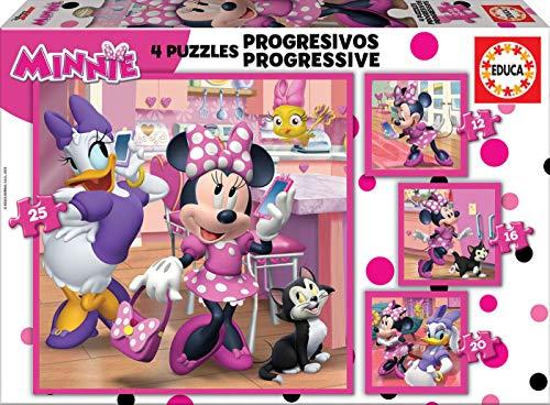 Oferta de Educa - Minnie Ayudantes Felices Conjunto de Puzzles Progresivos, Multicolor (17630)