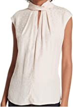 Rebecca Taylor Women's Heart Sleeveless Silk Jacquard Mock Neck Top, Parfait, X-Small