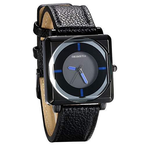 JewelryWe Reloj de pulsera de cuarzo para mujer, correa de piel, esfera cuadrada, reloj deportivo turquesa