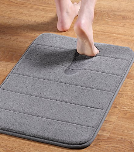 24' x 17' Microfiber Memory Foam Bath Mat with Anti-Skid Bottom Non-Slip Quickly Drying Dove Gray...