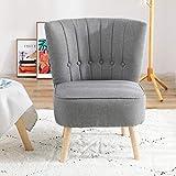 Chester - Sillón de tela para salón, dormitorio, color gris oscuro